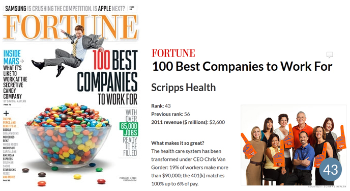 Scripps Health Named Best Company to Work For